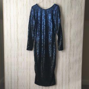 dress the population blue ombre Sequin midi dress